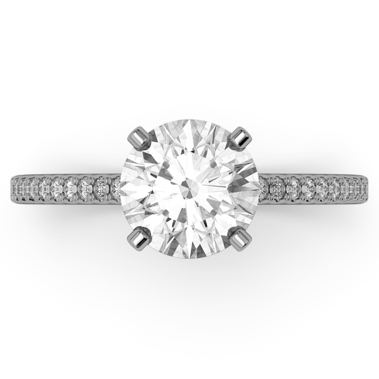 14k White Gold Classic Diamond Engagement Ring, Cathedral Archways with Shared Prongs Pavé Diamond Accents.