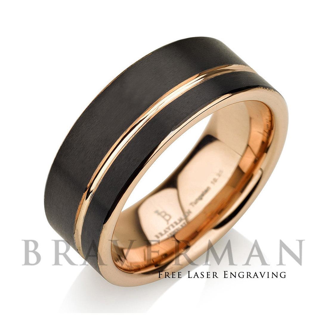 Black Tungsten Ring Rose Gold Wedding Band Ring Tungsten 9mm 18K ...