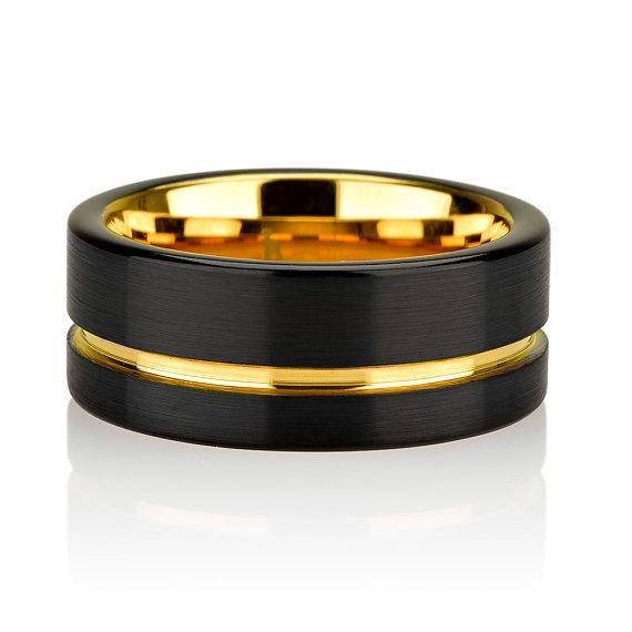 Black Tungsten Ring Yellow Gold Wedding Band Ring