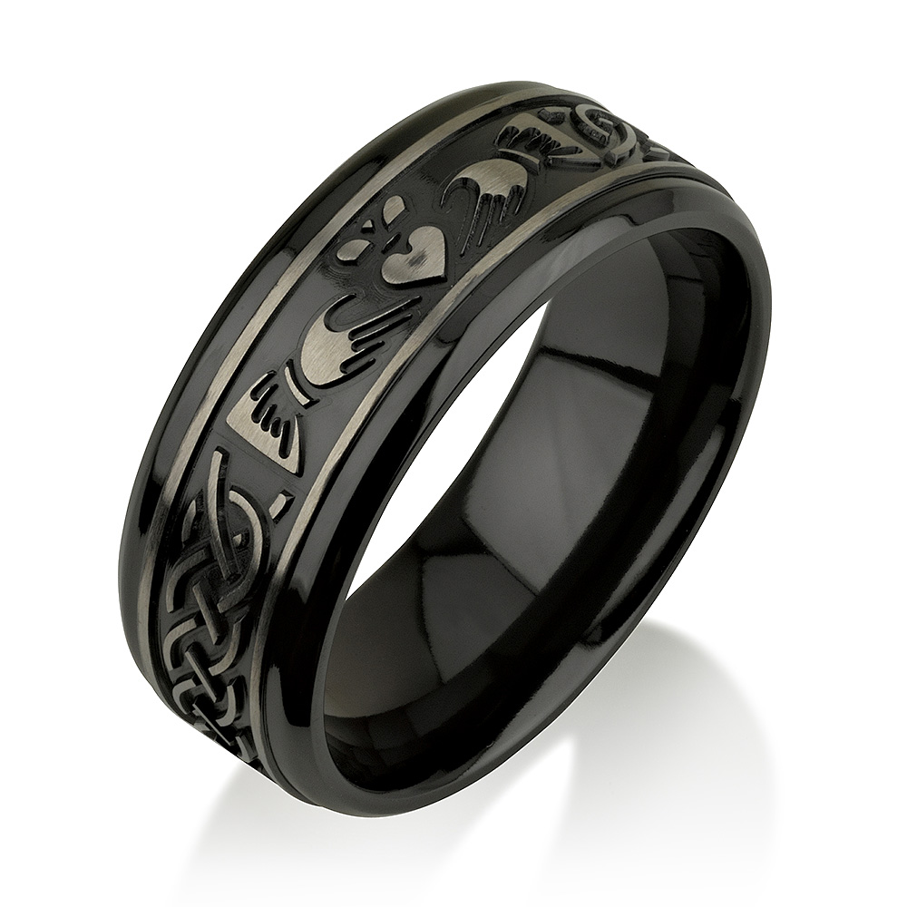 Claddagh Black Zirconium Ring, Black Zirconium Wed