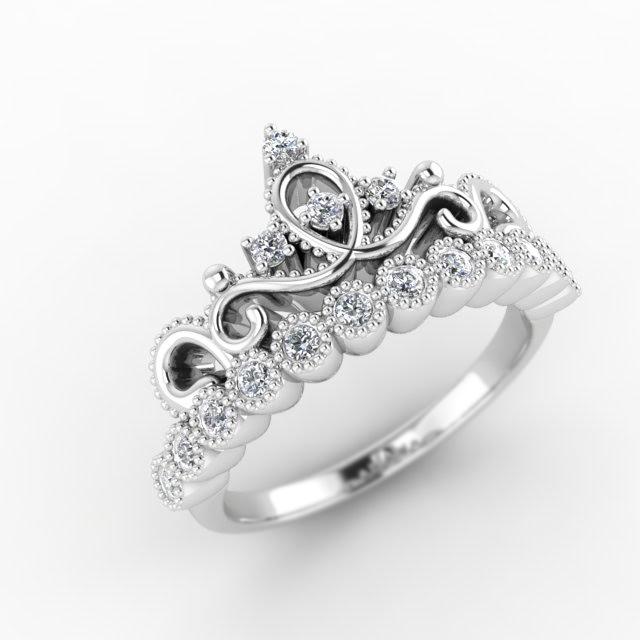 Unique Crown Diamond Ring - 14k White Gold and Diamonds Majestic Design