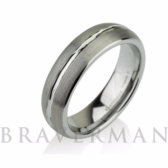 Domed Men's Tungsten Ring Mens Wedding Band Brushe