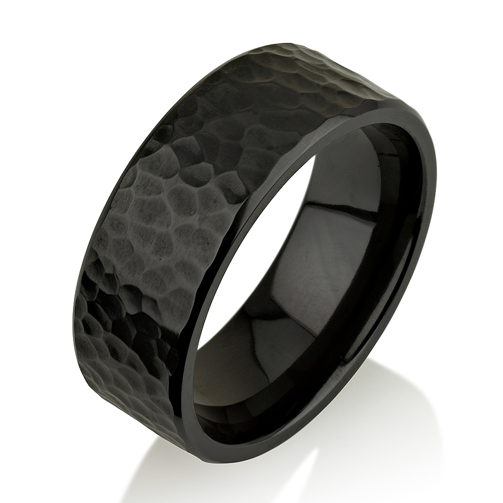 Hammered Black Zirconium Ring, Black Zirconium Wed