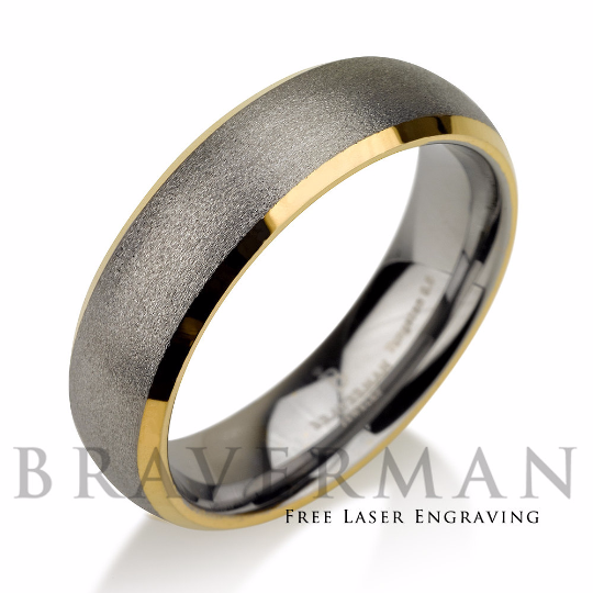 Mens Wedding Band Brushed Tungsten Carbide Unique Ring Man 6mm