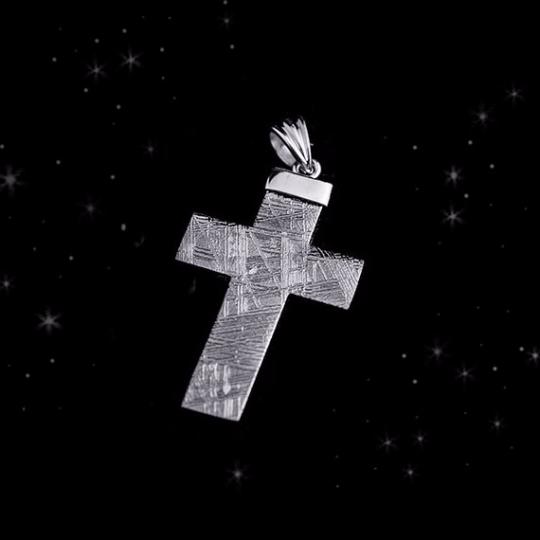 Meteorite Cross Necklace - Meteorite Necklace - Me