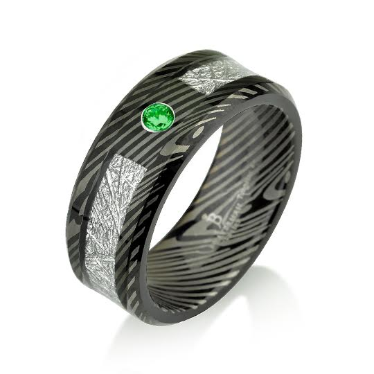 Green Emerald Black Tungsten Mokume Gane Pattern B