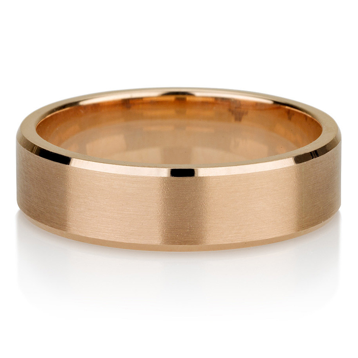 Rose Gold Men's Wedding Band, Brushed Men's or Women's Unisex 5.5mm Flat Top And Beveled Edges Recycled 14k Rose Gold Ring - Matte band