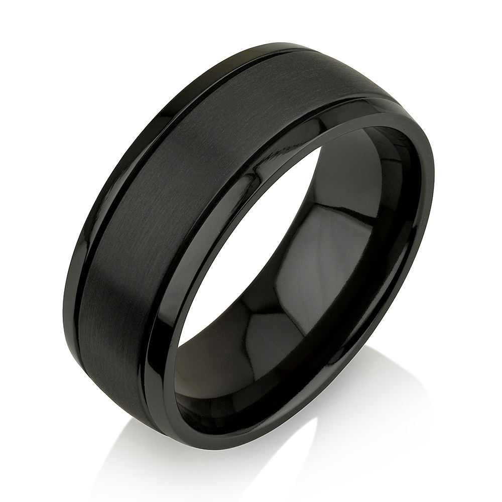 Rounded Black Zirconium Ring, Black Zirconium Wedd