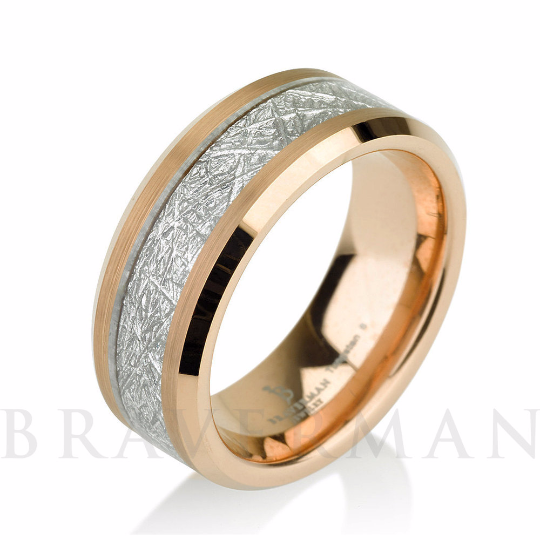 Satin Rose Gold Mens Meteorite Wedding Band, Meteo