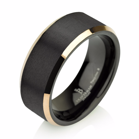 Yellow Gold Brushed Black Tungsten Ring Wedding Band Carbide 8mm 14k Man Male Women Anniversary