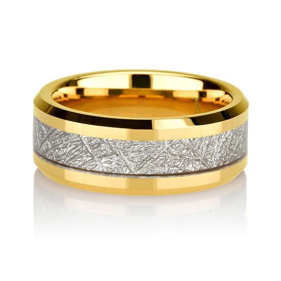 Yellow Gold Mens Meteorite Wedding Band