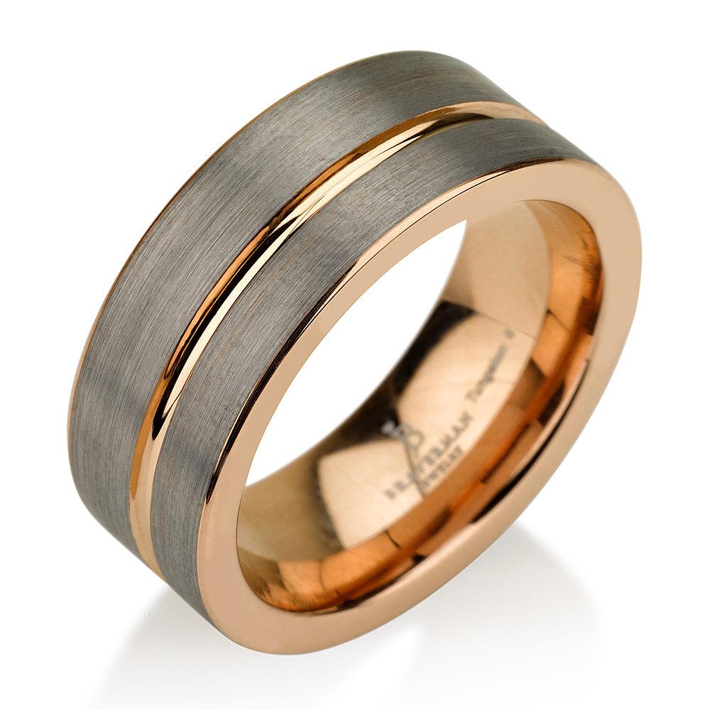 Tough by braverman jewelry black gunmetal tungsten ring for Mens gunmetal wedding rings