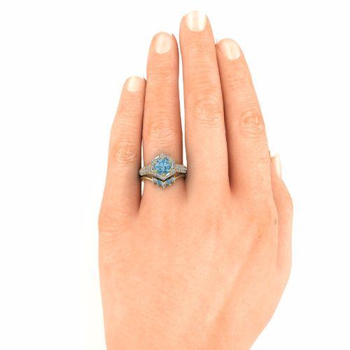 14K Yellow Gold Wedding Ring - Blue and White Diam