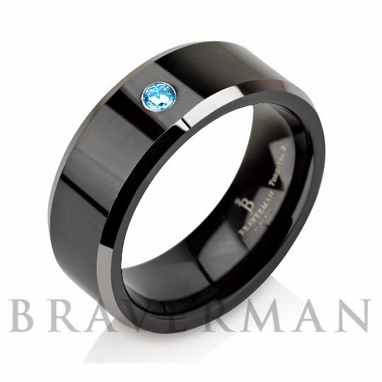 Custom For Alex - Blue Topaz Black Tungsten Band w