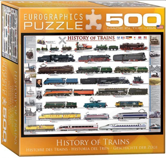 פאזל 500 חלקים - הסטוריה של רכבות