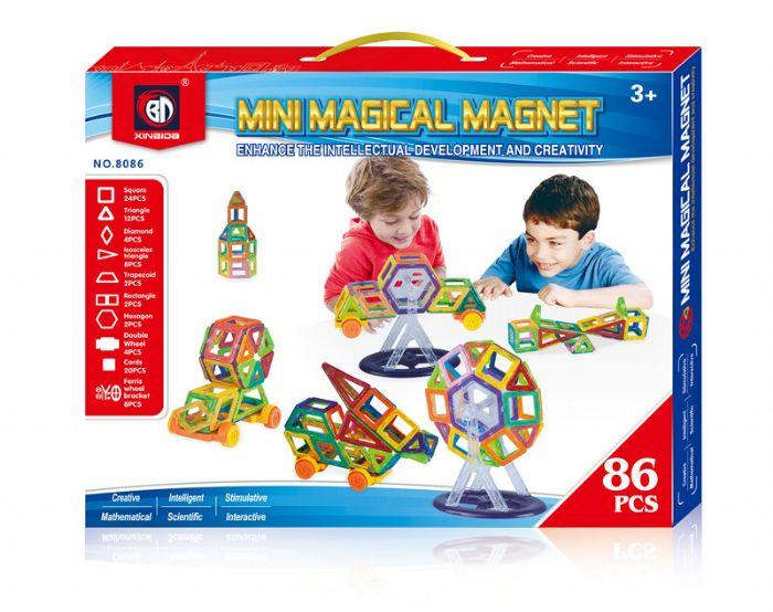 משחק מגנטים 86 חלקים עם גלגלים וקרוסלה