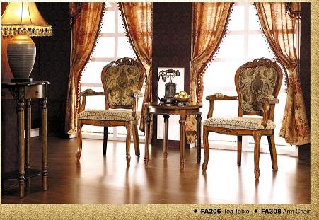 כורסא מעוצבת מבד איכותי דגם 308A ו שולחן 206