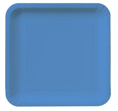 18 צלחות נייר מרובעות - כחול אמיתי