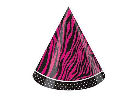 כובע מסיבה זברה ורודה