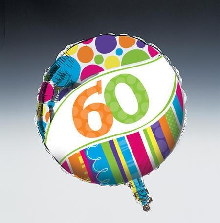 בלון מיילר פסים ונקודות - גיל 60