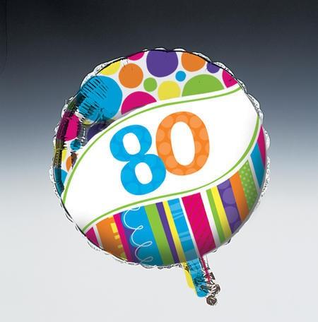 בלון מיילר פסים ונקודות - גיל 80