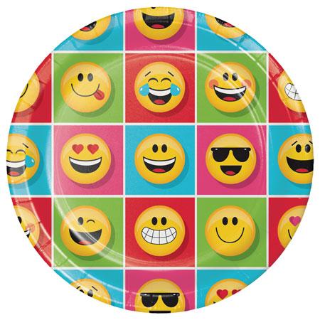 צלחות גדולות מסיבת Emoji