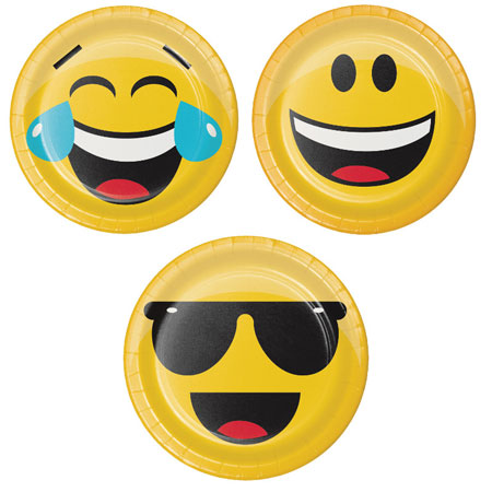 צלחות קטנות מסיבת Emoji