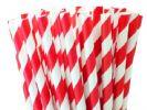 קשיות נייר פסים אדומים - 25