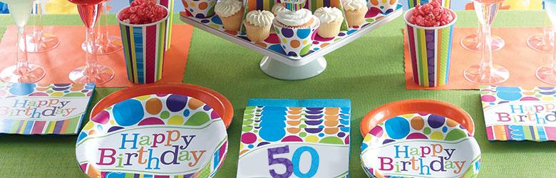 כלים חד פעמיים פסים ונקודות | יום הולדת למבוגרים