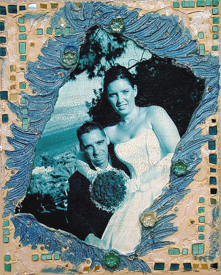 Blue Mosaic Wedding Picture
