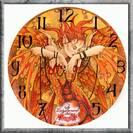 שעון קיר פיה גווני כתום