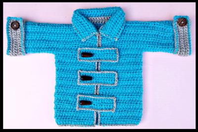 סוודר לילדים במידות 0-3 שנים במסרגה אחת