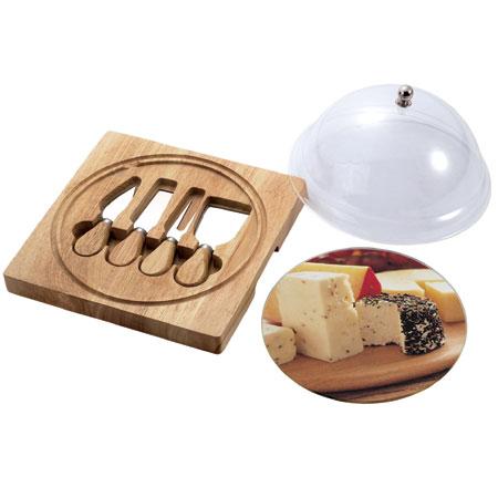 קרש חיתוך גבינות עם 4 סכינים ומכסה פעמון דגם 589
