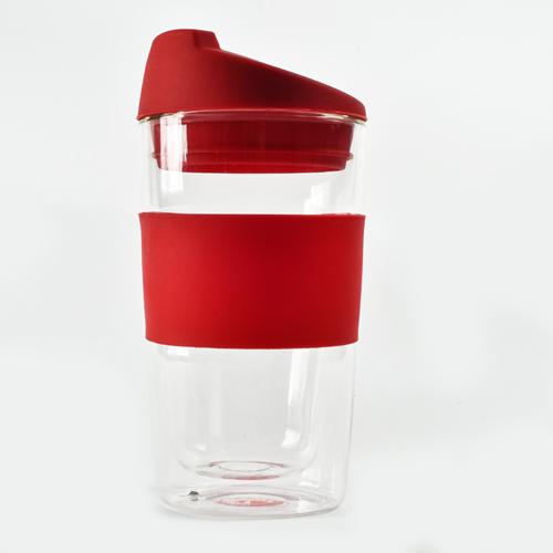 חדש !!! כוס זכוכית עם ידית סיליקון דגם 109