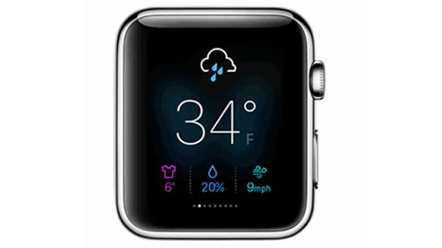 שעון אפל עם אפליקציית מזג אוויר יאהו