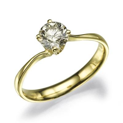 טבעת אירוסין זהב צהוב - Gentle twist