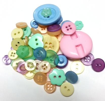כפתורים מפלסטיק-מיקס פסטל