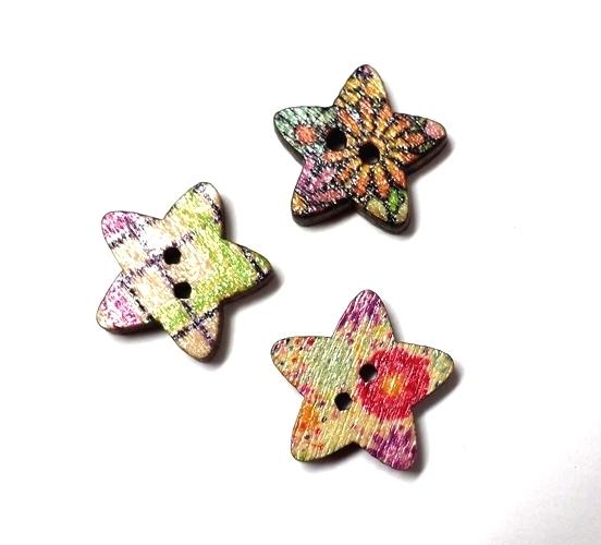 כפתורים מעץ-כוכבים