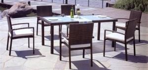 סט ישיבה הכולל שולחן טנסי 200*90 ו - 6 כסאות כולל ריפוד