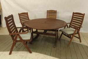 שולחן עגול 1.5 + כיסאות למרפסת כולל ריפוד מושב דגם מדיסון
