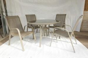 """סט דגם """"שמפניה סלינג"""" הכולל שולחן קוטר 1.05 + 4 כסאא סלינג אלומיניום"""