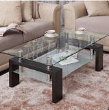 שולחן סלון זכוכית בשילוב עץ