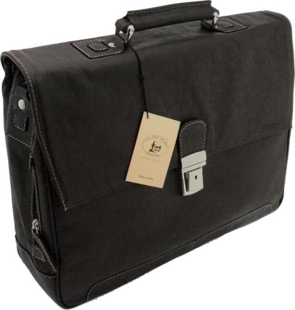תיק מנהלים מעור בפאלו עם מתלה למזוודת טרולי דגם 821 אולד אנגלר שחור