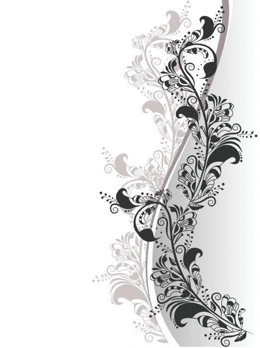 דלת פרחים תלת מימד שחור ולבן