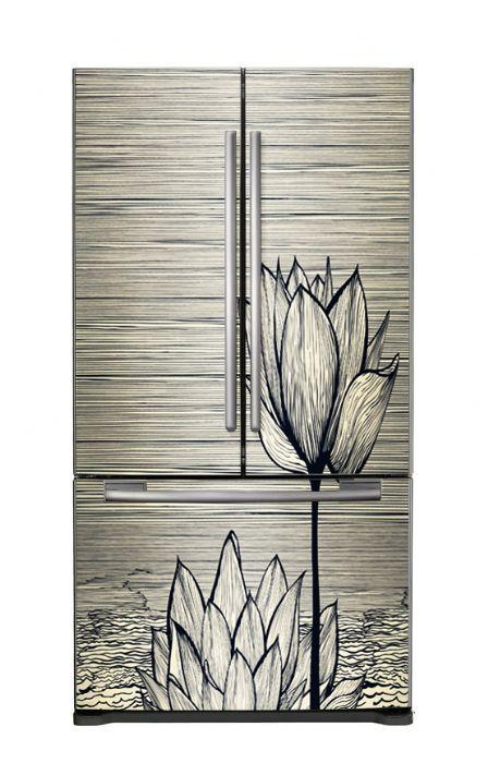 מגנטפט למקרר דגם פרח שחור לבן