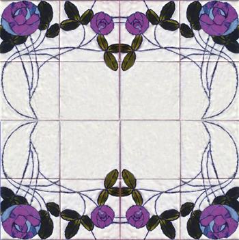 דוגמאת ארט-נובו פרח סגול משוכפל