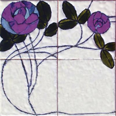 דוגמאת פרח ארט  נובו לבן עם סגול