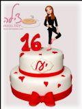 עוגה ליום הולדת 16 לנערה מקסימה שאוהבת לרקוד. Sweet sixteen cake