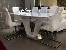 שולחן פינת אוכל זכוכית בשילוב שלייפלק דגם טורטינו