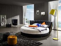 """מיטת דמוי-עור עגולה דגם """"אקדיה"""" A-AY325"""